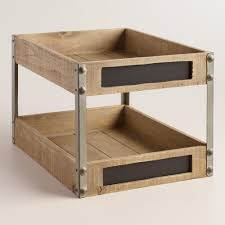 wood and metal sebastian 2 level tray