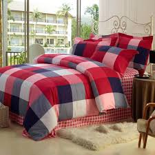 england style plaid red cotton duvet cover set of 4 piecered king canada argos single