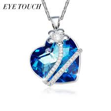 whole whole eye touch valentine s day gift necklace women pendants crystals from swarovski heart shaped luxury jewelry blue purple owl pendant
