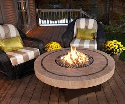 back yard patio with round stone gas fire pit table plus black wicker chair placed on