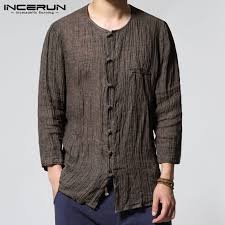 INCERUN 2019 <b>Chinese Style</b> Men Shirts Solid O-neck 3/4 Sleeve ...
