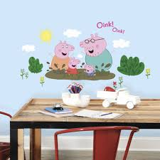 peppa pig and family muddy puddles wall decals on peppa pig wall art stickers with peppa pig family muddy puddles wall decals