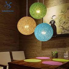 Woven Ceiling Light Shade Rattan Wicker Woven Ball Globe Ceiling Pendant Light Shade Green Blue 2pcs