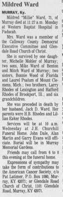 Obituary of Mildred Rhodes Ward - Newspapers.com
