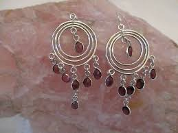 sterling silver garnet chandelier earrings classic and beautiful
