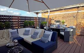 Decorations:City Roof Terrace Concept With White Canopy And Garden Lighting  Also Wooden Floor Idea
