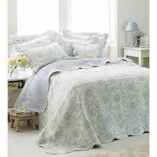 blue and white french bedspread