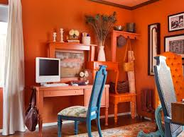 Orange home office Bright Colored Orange Home Office With Custom Display Area Hgtvcom Orangepacked Office Hgtv