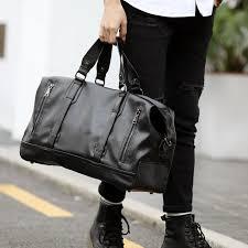 men s pu leather travel bags large capacity messenger bags travel duffle handbags men s shoulder bags