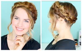 Braided Bangs Hairstyles How To Easy Crown Braid Youtube