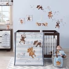 lambs ivy bedtime originals mod monkey 3 piece crib bedding set blue com