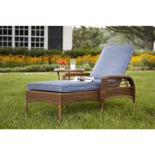 resin wicker chaise lounge. Interesting Resin Hampton Bay Spring Haven Brown AllWeather Wicker Outdoor Patio Chaise  Lounge With Sky Blue On Resin