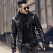2019 black lamb woolen men fur coat winter warm camouflage fur collar faux mens leather jacket moto luxury slim natural thick from ingridea