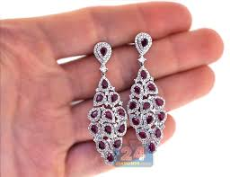 womens ru diamond chandelier earrings 18k white gold 724 ct ruby diamond earrings