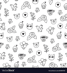 Bird Pattern Cool Doodle Bear Cat And A Bird Outline Pattern Vector Image