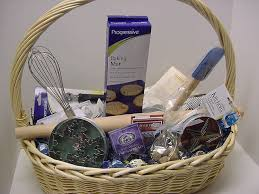image of big beautiful cooking gift basket unwrapped bakery basket