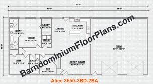 barndominium house plans. barndominiumfloorplans.com | alice 3 bedroom 2 bathroom 35 foot wide barndominium house plans r