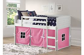 Bunk bed with slide and desk Triple Camp Hideaway White Twin Jr Loft Bed With Pink Tent Rooms To Go Kids Girls Bunk Beds Loft Beds With Desks Slides Storage