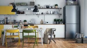 Kitchen Wooden Yellow Chairs Ikea Open Shelving Kitchen