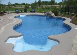 Outdoor Swimming Pool Design And Fantastic With Unique Shape Water Fountain  Idea Sitting Area Big Yard ...