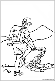 Small Picture Building A Campfire At The Foot Of The Mountain Coloring Page