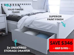 Solid Timber Bedroom Furniture Dandenong Queen Bed White Storage Modern B2c Furniture