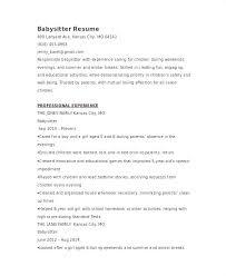 Resume Babysitter Graduate References On Job Duties Successmaker Co