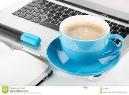 office coffee cups. Brilliant Office Blue Coffee Cup Laptop And Office Supplies With Office Coffee Cups