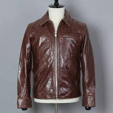2019 dark brown men american style casual leather jacket plus size xl genuine cowhide spring slim natural coat canada 2019 from lotustoot