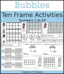 bubbles themed ten frame set 4 sets of number cards hands on and