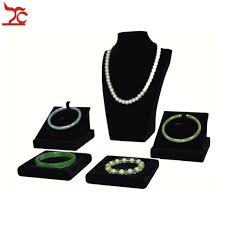 Black Velvet Jewelry Display Stands Wholesale 100Pcs Black Velvet Jewelry Display Rack Wooden Necklace 31
