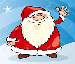 Cartoon Illustration Of Funny Santa Claus Or Papa Noel With Christmas