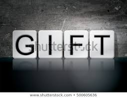 The Word Gift Word Gift Written White Tiles Against Stock Illustration 500605636
