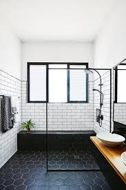 Black And White Tile Floor Bathroom Black Stained Wooden Wall ...