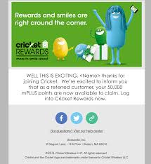 promoter perks mplus rewards cricket how long does it take to receive my 50 000 points after someone i refer joins cricket