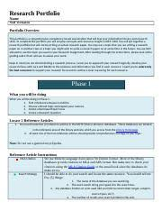 Research Portfolio Template Infs 1000 Research Portfolio Research Portfolio In 3