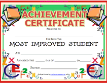 Achievement Improved Student Certificates Student Awards