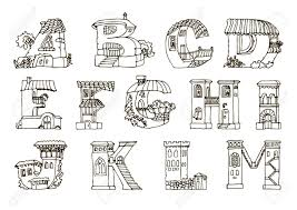 英語のアルファベットの文字図形を家しますレトロなスタイルと手描きフォントです手作りのアルファベッ
