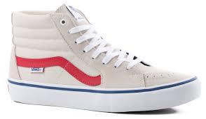 vans 721454. vans sk8-hi pro skate shoes - birch/rococco red 721454