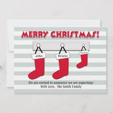 Christmas Pregnancy Announcement Card Stockings