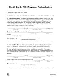 Free Credit Card Ach Authorization Forms Word Pdf Eforms