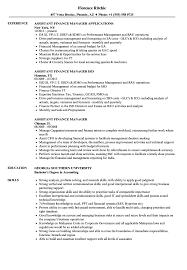 Sample Director Of Finance Resume Assistant Finance Manager Resume Samples Velvet Jobs