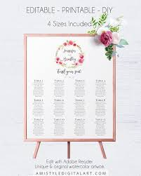 Printable Seating Chart For Wedding Reception Wedding Reception Table Seating Chart With Beautiful And