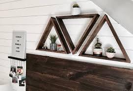 clever diy floating triangular shelves
