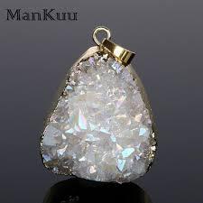 dropwow mankuu irregular gold plating natural stone pendants pendulum polish crystal druzy pendants opal pendants for diy jewelry making