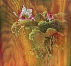 Lotus flower unique <b>original</b> oil painting handmade <b>vintage gold</b> ...