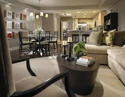 Interior Design For Living Room And Dining Room Living Room Gray Sofa White Bookcases Black Console Table Brown