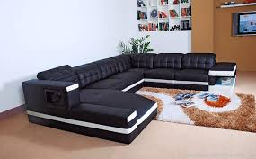 luxury white black leather corner sofa