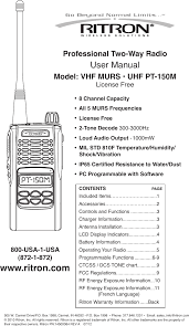 Rit29 150m Vhf Murs Handheld Transceiver User Manual Ritron