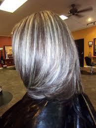 gray highlights in dark brown hair google search